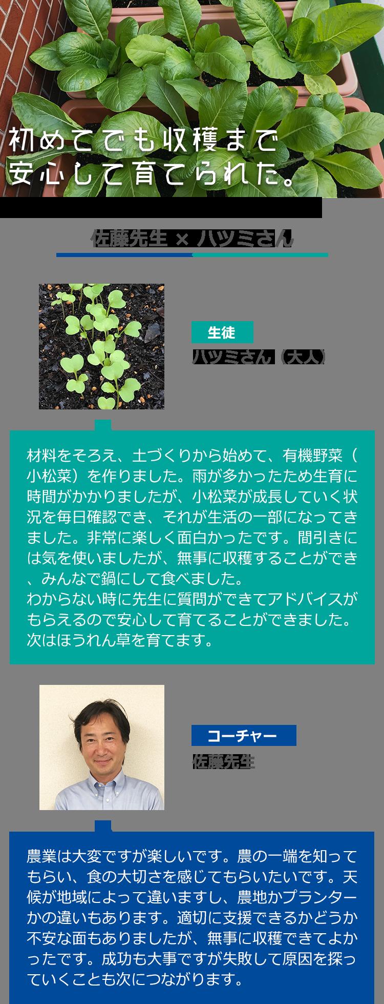材料をそろえ、土づくりから始めて、有機野菜(小松菜)を作りました。雨が多かったため生育に時間がかかりましたが、小松菜が成長していく状況を毎日確認でき、それが生活の一部になってきました。非常に楽しく面白かったです。間引きには気を使いましたが、無事に収穫することができ、みんなで鍋にして食べました。